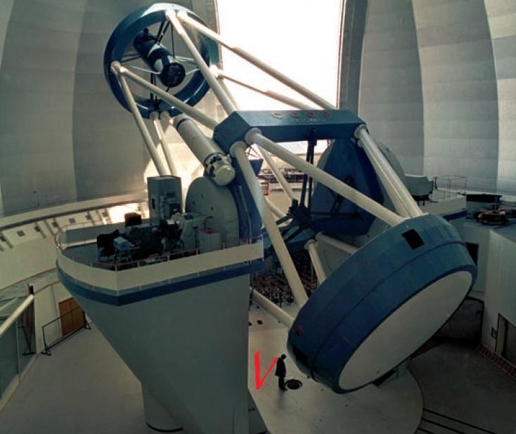Вид на телескоп внутри сравнительно с человеком