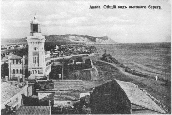 Наиболее панорамный вид Высокого берега. На переднем плане - хозяйственные постройки санатория В. А. Будзинского, за ними - городской маяк и далее - городское кладбище