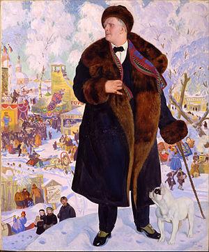 Портрет Ф.И.Шаляпина работы Кустодиева (1922)