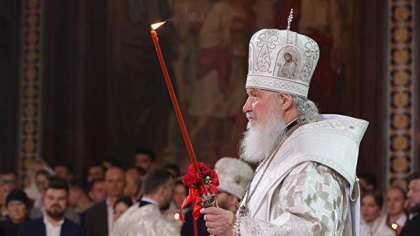 Патриарх Кирилл на пасхальном богослужении
