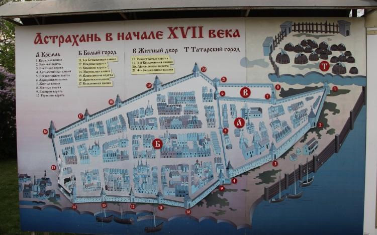 Схема Астрахани в 17 веке
