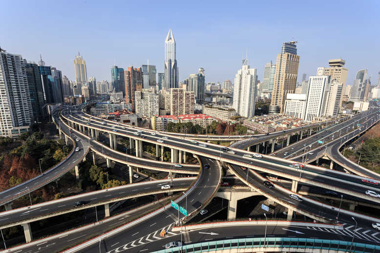 Aerial View of Overpass in Modern City Like Shanghai