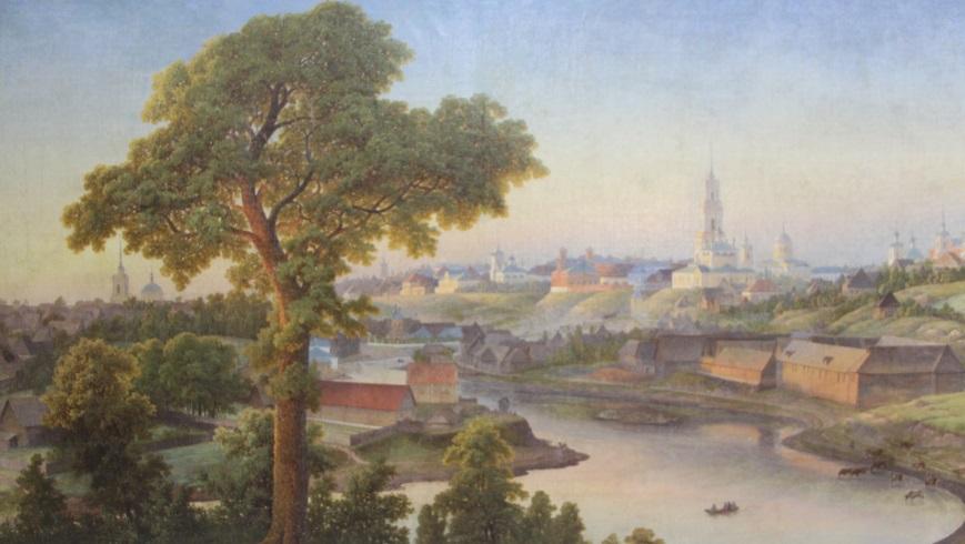"""Картина Волоскова """"Вид на Ржев"""". Написана в 1856 году"""