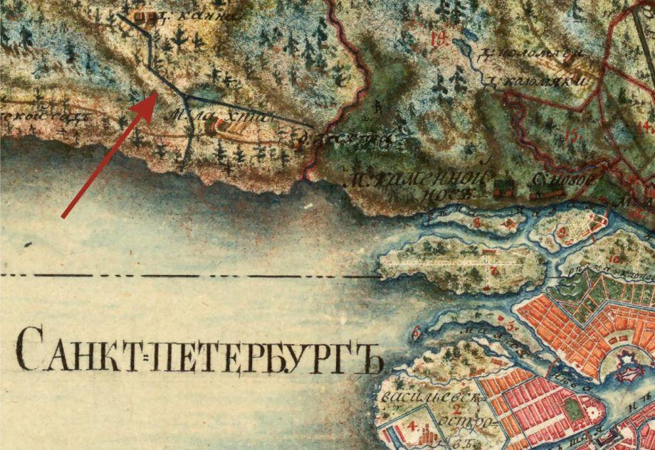 Дорога, по которой перевозили Гром-камень, на «Карте Санкт-Петербургской губернии» 1792 года