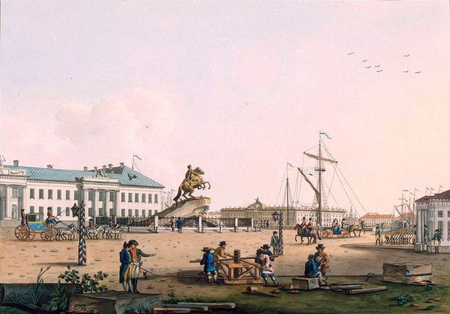 Сенатская площадь на картине художника Бенжамина Патерсона. 1799 год