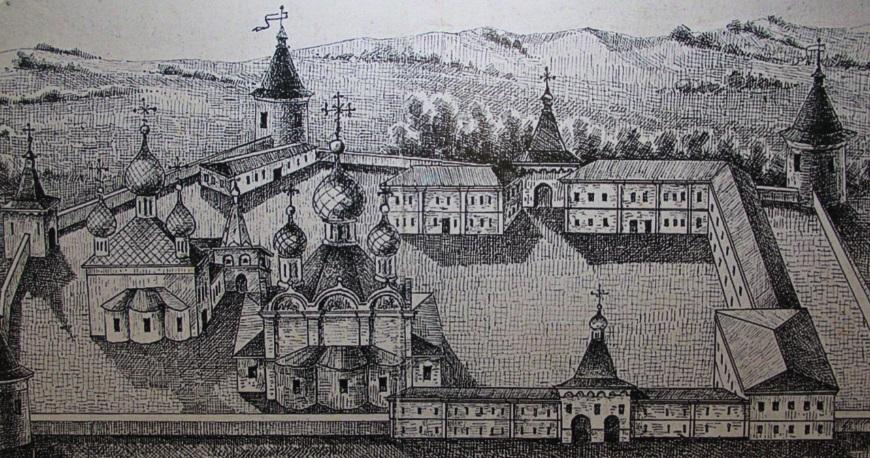 Гравюра монастыря