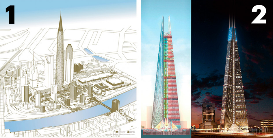 Башня «Россия». 1 — проект Бориса Тхора; 2 — проект Нормана Фостера (Фото: Музей «Москва-Сити»)